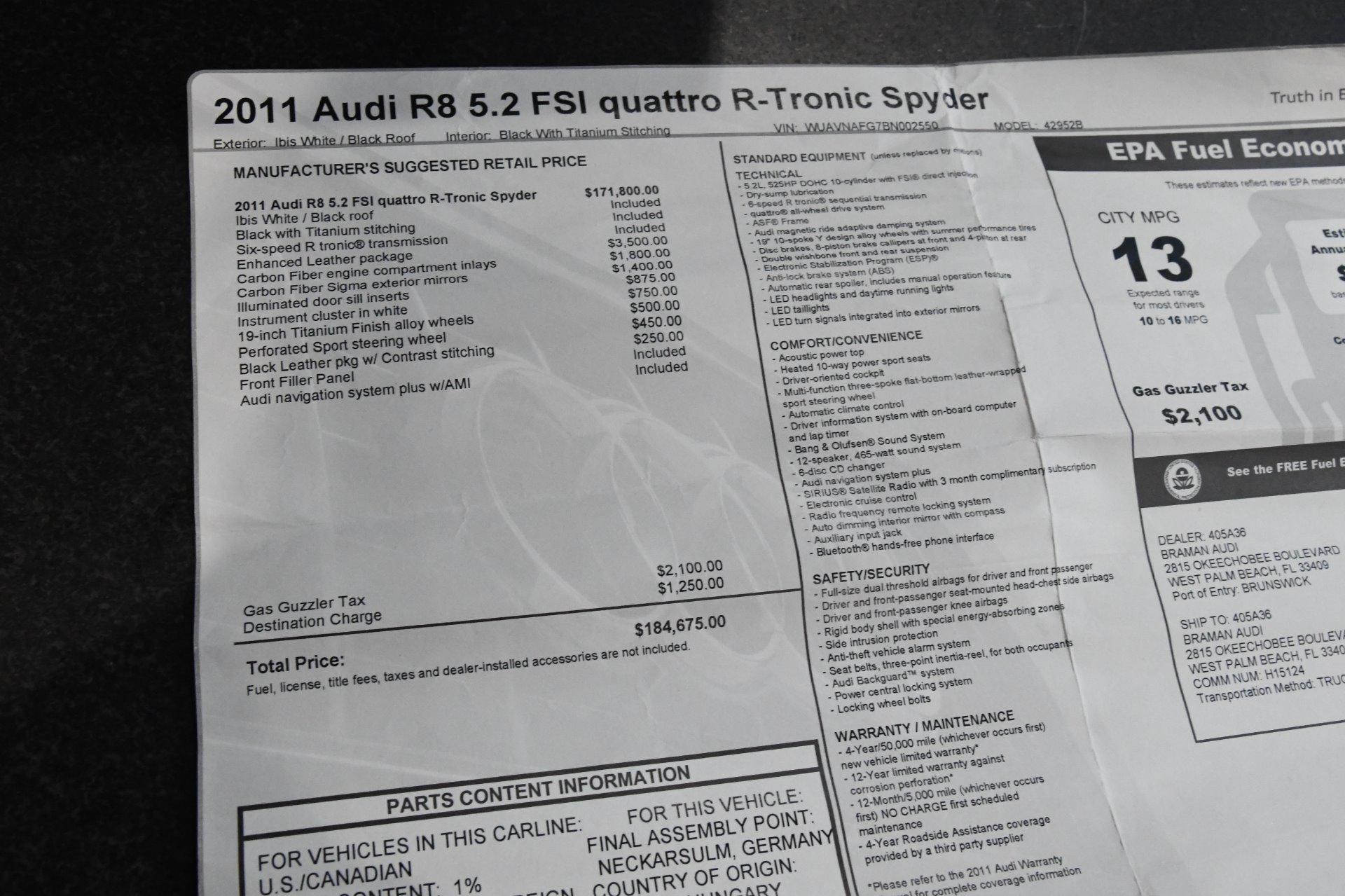 Used 2011 Audi R8 5.2 quattro Spyder | Chicago, IL