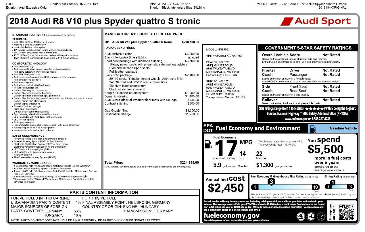 Used 2018 Audi R8 5.2 quattro V10 Plus Spyder | Chicago, IL