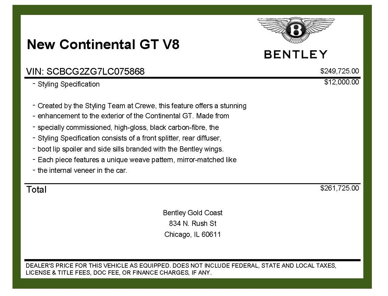 New 2020 Bentley Continental GT V8 GT V8 Styling Specification | Chicago, IL