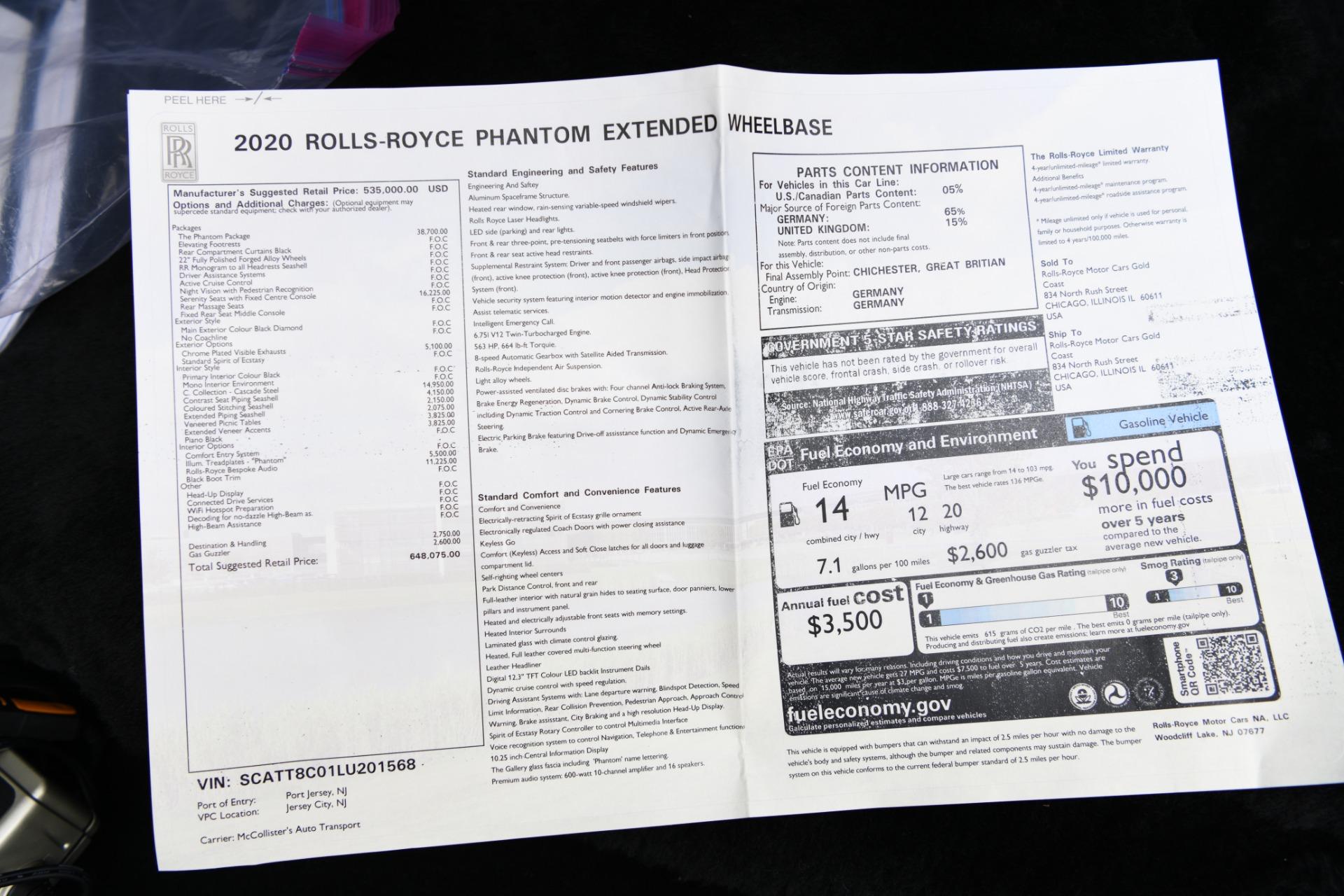 Used 2020 Rolls-Royce Phantom Extended Wheelbase  | Chicago, IL
