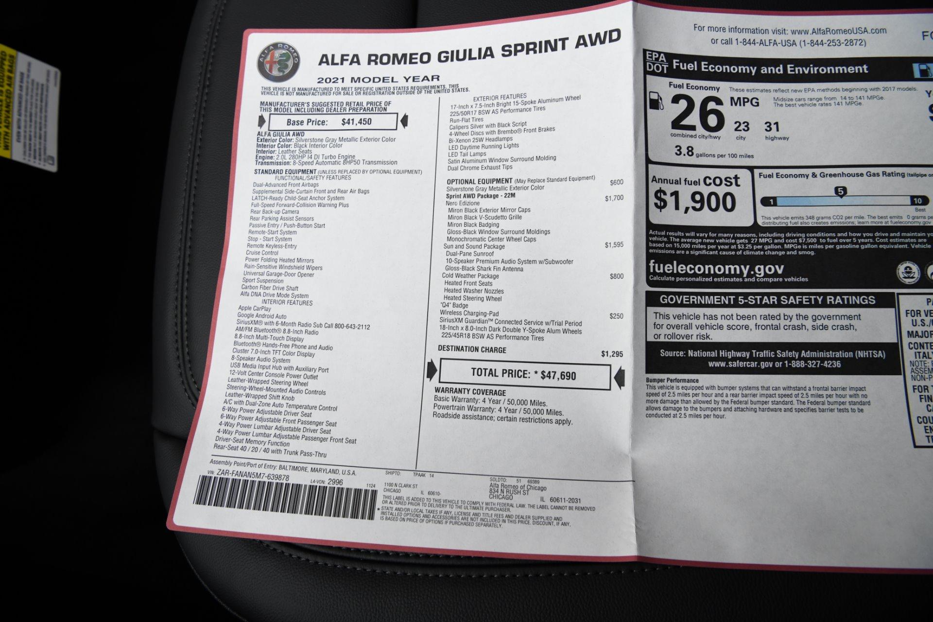New 2021 Alfa Romeo Giulia Sprint   Chicago, IL