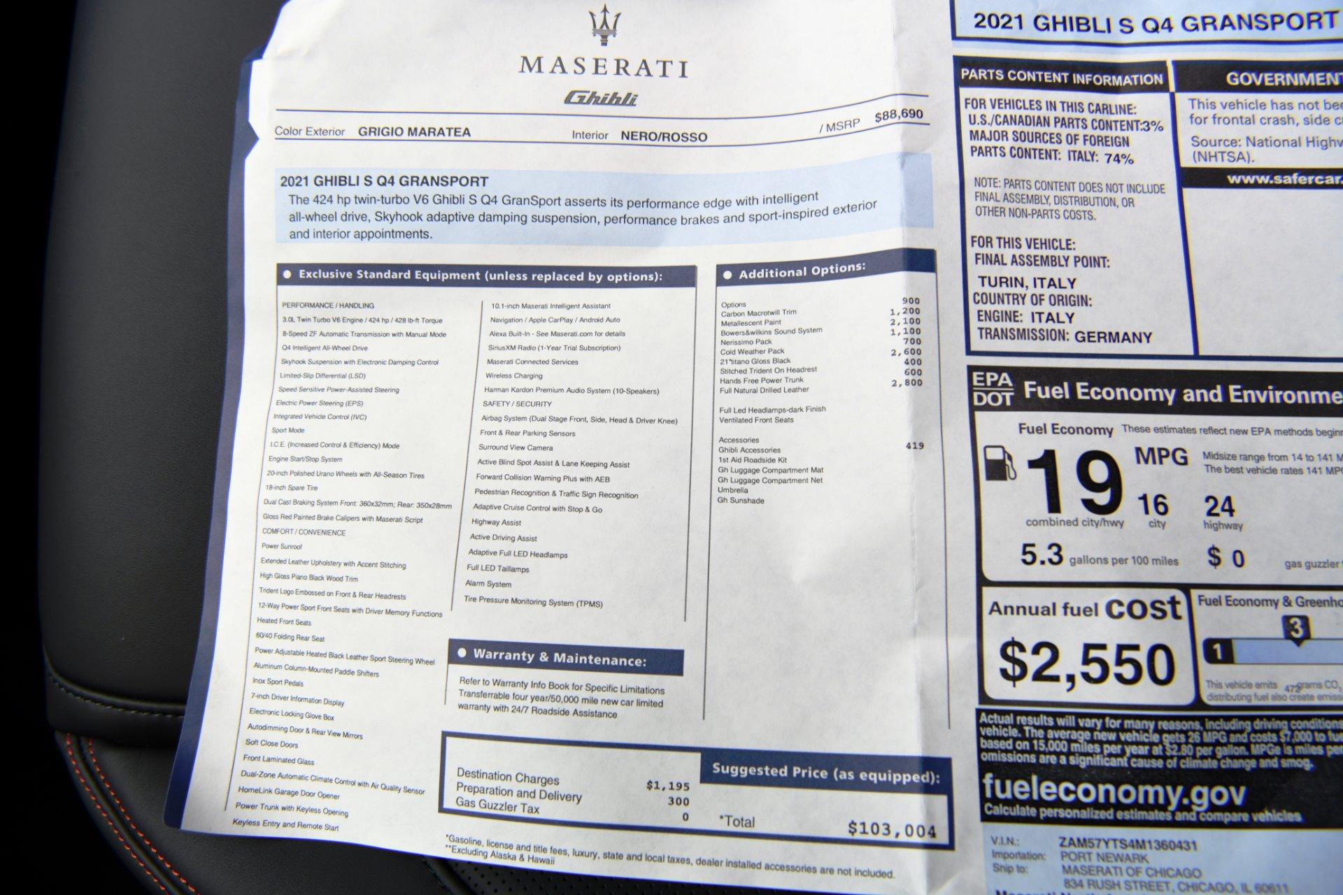 New 2021 Maserati Ghibli SQ4 GranSport | Chicago, IL